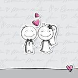 手拉的婚礼夫妇 免版税库存图片