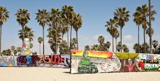 在威尼斯海滩,洛杉矶的艺术墙壁 库存图片