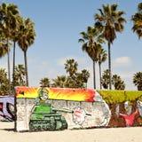 在威尼斯的艺术墙壁靠岸,洛杉矶 图库摄影
