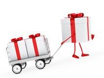 Το κιβώτιο δώρων σύρει ένα καροτσάκι Στοκ φωτογραφία με δικαίωμα ελεύθερης χρήσης