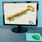 主题词在计算机展览会锁上 免版税库存图片