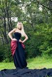 Γυναίκα στο εκλεκτής ποιότητας φόρεμα Στοκ Εικόνες