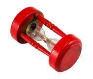 Красный цвет часов сломленного песка стеклянный изолированный на белизне Стоковая Фотография RF