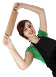 Νέα γυναίκα που κρατά έναν κύλινδρο Στοκ Φωτογραφία