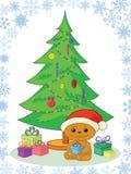 玩具熊、礼品和圣诞树 库存图片
