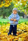 男婴在叶子之中突出在秋天公园 免版税库存照片