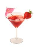 在空白背景的草莓鸡尾酒 库存照片