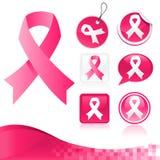 乳腺癌知名度的桃红色丝带工具箱 免版税图库摄影
