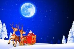 有他的雪橇的圣诞老人在冰岛 免版税图库摄影