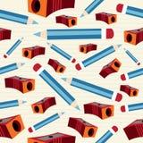 铅笔和磨削器模式 免版税图库摄影