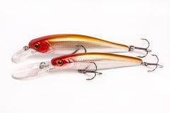 捕鱼的诱饵-在白色的晃摇物 免版税库存图片