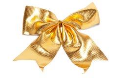 金黄圣诞节弓 库存图片