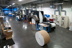 打印机: 数字式卷筒纸印刷机 库存图片