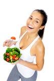 沙拉快餐妇女 免版税库存图片