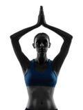 执行瑜伽现有量的妇女连接了纵向 免版税库存图片