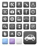 汽车机械师和服务按钮 图库摄影