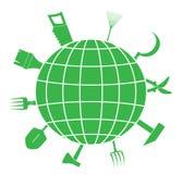 Σημάδι με τα εργαλεία και τον πλανήτη κήπων Στοκ Εικόνες