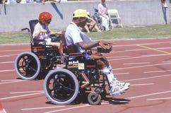 轮椅特殊奥林匹克运动员 库存图片