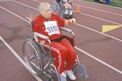 轮椅特殊奥林匹克运动员 免版税库存图片