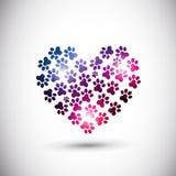 Животная влюбленность, абстрактный логос печати лапки Стоковые Фото