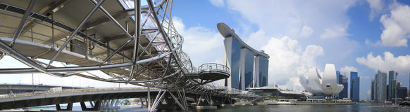 新加坡海滨广场海湾铺沙全景 免版税库存图片