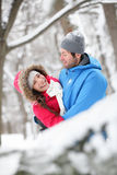 拥抱在雪的浪漫夫妇 免版税图库摄影