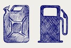 加油站和五加仑装之汽油罐 免版税库存照片