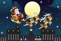 圣诞老人与驯鹿的骑马雪橇 免版税库存图片