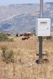 在山的水文气象学的岗位 免版税库存照片