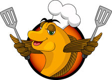 Смешные рыбы кашевара шаржа Стоковое Изображение