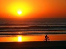 骑自行车在海滩 免版税库存照片