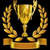 向量赢取的金杯子、月桂树花圈和丝带 免版税库存图片