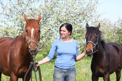 与驹的妇女和栗子母马 免版税图库摄影