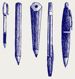 铅笔、笔和钢笔图标 库存图片