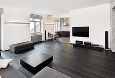 现代简单派样式客厅内部 免版税库存照片