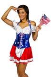 爱国的美国女孩 免版税库存照片