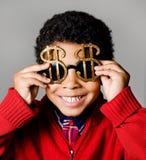 富有的美国非洲男孩 免版税库存照片