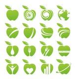 Σύνολο εικονιδίων μήλων Στοκ εικόνα με δικαίωμα ελεύθερης χρήσης