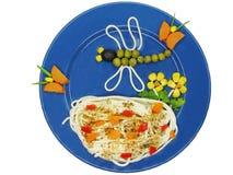 创造性的意大利面食食物龙形状 免版税库存照片
