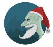 向量红色帽子的邪恶的圣诞老人 免版税库存图片