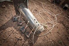 钢管爆炸装置 免版税库存图片