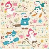 无缝五颜六色的圣诞节的模式 图库摄影