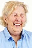 高级妇女笑 免版税库存图片