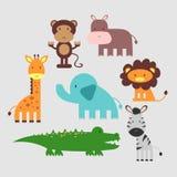 被设置的逗人喜爱的非洲动物 免版税库存照片