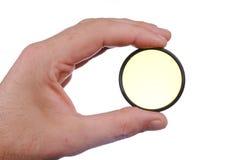 人现有量拿着黄色摄影补白 图库摄影