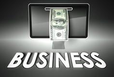 Экран и долларовая банкнота, дело слова, электронная коммерция Стоковое Изображение