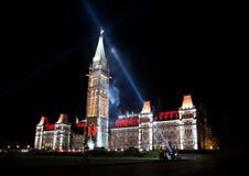 在议会加拿大之家的轻的显示  免版税库存图片