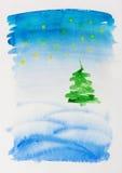 Рождественская открытка акварели Стоковая Фотография