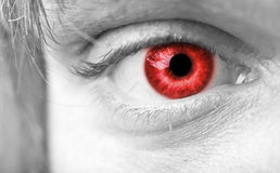 特写镜头红色吸血鬼眼睛 库存照片