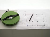 评定的磁带,在结构图的铅笔 库存照片